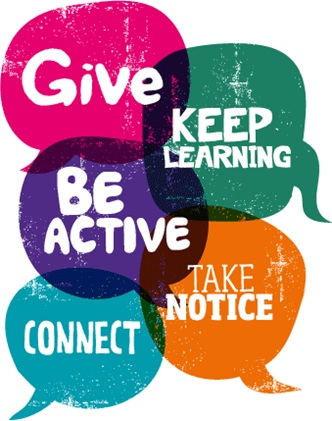 5 ways to wellbeing, Give, Keep Learning, Be Active, Take Notice, Connect